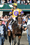 10 April 2010: Stately Victor and Alan Garcia spring the upset in the G1 Toyota Bluegrass Stakes at Keeneland Race Course in Lexington, Kentucky.