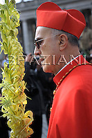 Cardinal Tarcisio Bertone;Pope Benedict XVI benedicts faithful during an open-air Palm Sunday mass in St. Peter's square at the Vatican Sunday, March 16, 2008.