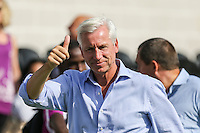 Alan Pardew (Manager) of Crystal Palace puts his thumb up to the travelling supporters after a 3-5 victory during the Friendly match between Barnet and Crystal Palace at The Hive, London, England on 11 July 2015. Photo by David Horn.