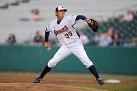 Tennessee Smokies starting pitcher Dae-Eun Rhee delivers a pitch during a game against the Jackson Generals at Smokies Park, Kodak, Tennessee April 13, 2012. The Smokies won 4-1  (Tony Farlow/Four Seam Images)..