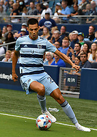 KANSAS CITY, KS - JULY 31: Daniel Salloi #20 of Sporting Kansas City moves the ball up the left wing during a game between FC Dallas and Sporting Kansas City at Children's Mercy Park on July 31, 2021 in Kansas City, Kansas.