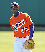 Outfielder Chris Epps (26) of the Clemson Tigers prior to a game against the Wright State Raiders Saturday, Feb. 27, 2011, at Doug Kingsmore Stadium in Clemson, S.C. Photo by: Tom Priddy/Four Seam Images
