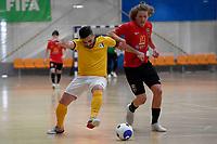 Kareem Osman of Capital and Charlie  Bayly of Canterbury during the Men's Futsal SuperLeague, Canterbury United Futsal Dragons v Capital Futsal at ASB Sports Centre, Wellington on Saturday 31 October 2020.<br /> Copyright photo: Masanori Udagawa /  www.photosp ort.nz