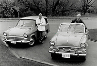1990 FILE PHOTO - ARCHIVES -<br /> <br /> Road Kings: Keith Jennings; left; of Aurora and his twin Ken; of Thornhill; show off their automotive jewels - Keith's '64 Hillman Husky and Ken's '61 Hillman Minx.<br /> <br /> 1990<br /> <br /> PHOTO :  Erin Comb - Toronto Star Archives - AQP