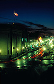 Downtown Marquette Michigan at night, looking down Washington St.