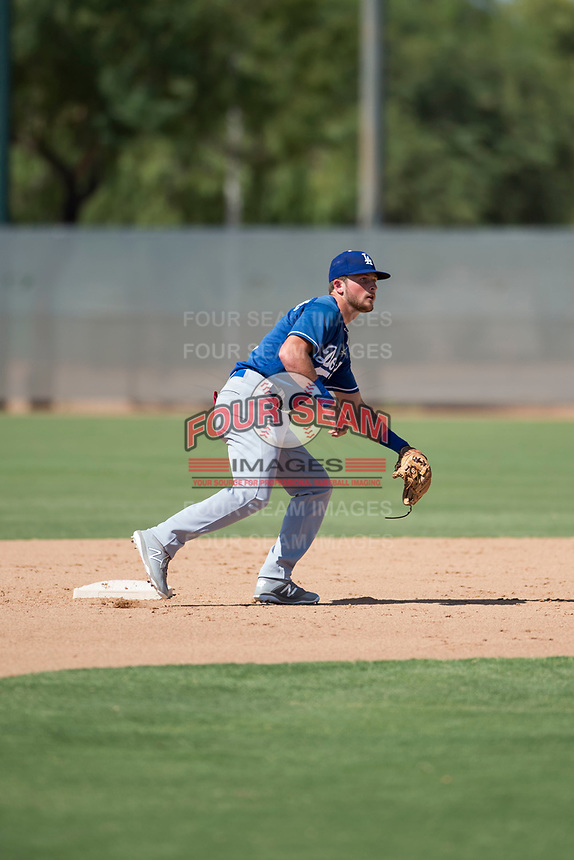 Los Angeles Dodgers second baseman Sam McWilliams (9) during an Instructional League game against the Milwaukee Brewers at Maryvale Baseball Park on September 24, 2018 in Phoenix, Arizona. (Zachary Lucy/Four Seam Images)
