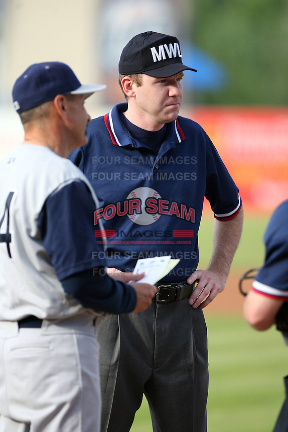 June 14th 2008:  Base umpire Phil Henry before a game at Fifth Third Ballpark in Comstock Park, MI.  Photo by:  Mike Janes/Four Seam Images