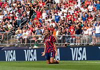EAST HARTFORD, CT - JULY 5: Tobin Heath #7 of the USWNT questions a referees call during a game between Mexico and USWNT at Rentschler Field on July 5, 2021 in East Hartford, Connecticut.