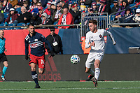 FOXBOROUGH, MA - MARCH 7: Djordje Mihailovic #14 of Chicago Fire controls the ball during a game between Chicago Fire and New England Revolution at Gillette Stadium on March 7, 2020 in Foxborough, Massachusetts.