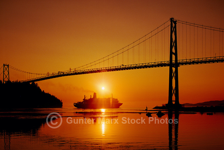 Lions Gate Bridge, Vancouver, BC, British Columbia, Canada - Cruise Ship departing Port of Vancouver at Sunset
