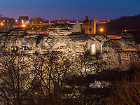 Blick auf Bock-Kasematten, Luxemburg-City, Luxemburg, Europa, UNESCO-Weltkulturerbe<br /> Bock casemate, Luxembourg City, Europe, UNESCO Heritage Site