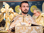 Reading from the Gospel, Paschal Divine Liturgy with the blessing of the eggs, St. Sava Serbian Orthodox Church, midnight in Jackson, Calif.