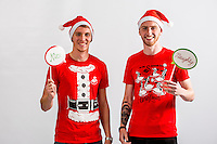 Wednesday 02 November 2016<br /> Pictured L-R: Ollie McBurnie and Jay Fulton<br /> Re: Swansea City Christmas Photo shoot, Liberty Stadium, Wales, UK
