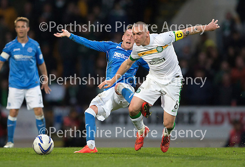 St Johnstone v Celtic...15.05.15   SPFL<br /> Danny Swanson is fouled by Scott Brown<br /> Picture by Graeme Hart.<br /> Copyright Perthshire Picture Agency<br /> Tel: 01738 623350  Mobile: 07990 594431