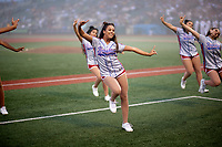 Brooklyn Cyclones Surf Squad Dance Team perform while there is a fog delay during a NY-Penn League game against the Tri-City ValleyCats on August 17, 2019 at MCU Park in Brooklyn, New York.  Brooklyn defeated Tri-City 2-1.  (Mike Janes/Four Seam Images)