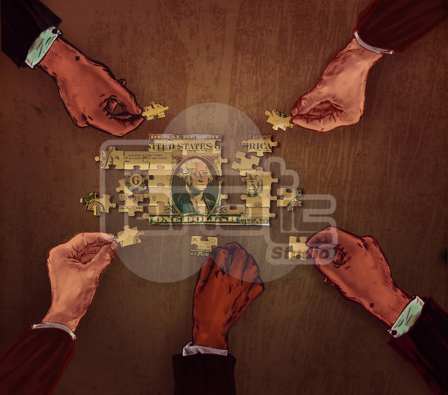 Business people's hand joining the pieces of puzzle representing the concept of collaboration