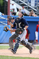 June 22nd 2008:  Catcher Zach Booker of the Mahoning Valley Scrappers, Class-A affiliate of the Cleveland Indians, during a game at Dwyer Stadium in Batavia, NY.  Photo by:  Mike Janes/Four Seam Images