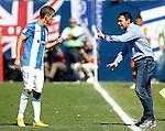 CD Leganes' coach Asier Garitano (r) and Alexander Szymanowski during La Liga match. September 25,2016. (ALTERPHOTOS/Acero)
