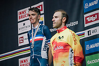 Romain Bardet (FRA/AG2R-La Mondiale) gets the silver, while Alejandro Valverde (ESP/Movistar) walks away with gold<br /> <br /> MEN ELITE ROAD RACE<br /> Kufstein to Innsbruck: 258.5 km<br /> <br /> UCI 2018 Road World Championships<br /> Innsbruck - Tirol / Austria