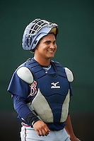 GCL Braves catcher Ricardo Rodriguez (15) in the bullpen during a game against the GCL Phillies on August 3, 2016 at the Carpenter Complex in Clearwater, Florida.  GCL Phillies defeated GCL Braves 4-3 in a rain shortened six inning game.  (Mike Janes/Four Seam Images)