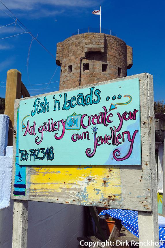 Geschäft Fish'n Beads am Strand von St.Brelade's Bay, Insel Jersey, Kanalinseln