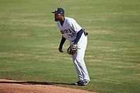Charleston RiverDogs second baseman Johan Lopez (32) on defense against the Augusta GreenJackets at Joseph P. Riley, Jr. Park on June 27, 2021 in Charleston, South Carolina. (Brian Westerholt/Four Seam Images)