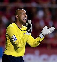 Tim Howard calls out to teammates. Costa Rica defeated U.S. Men's National Team 3-1 on June 3, 2009 at Saprissa Stadium in San Jose, Costa Rica..