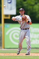 Shortstop Jason Martinson #11 of the Hagerstown Suns makes a throw to first base against the Kannapolis Intimidators at Fieldcrest Cannon Stadium on May 30, 2011 in Kannapolis, North Carolina.   Photo by Brian Westerholt / Four Seam Images