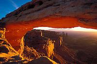 Looking through Mesa Arch, Canyonlands National Park, Utah, USA.