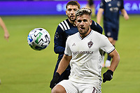 KANSAS CITY, KS - OCTOBER 24: Diego Rubio #11 Colorado Rapids with the ball during a game between Colorado Rapids and Sporting Kansas City at Children's Mercy Park on October 24, 2020 in Kansas City, Kansas.