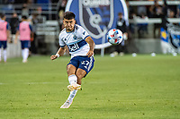 SAN JOSE, CA - AUGUST 13: Ryan Raposo #27 of the Vancouver Whitecaps passes the ball during a game between San Jose Earthquakes and Vancouver Whitecaps at PayPal Park on August 13, 2021 in San Jose, California.