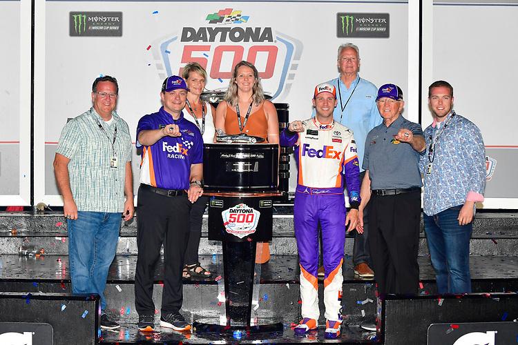 #11: Denny Hamlin, Joe Gibbs Racing, Toyota Camry FedEx Express celebrates in victory lane, Joe Gibbs