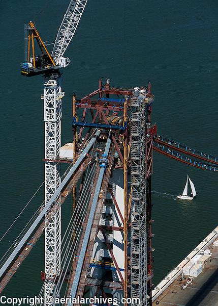 aerial photograph construction crane suspension tower San Francisco Oakland Bay Bridge