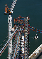 aerial photograph construction crane suspension tower San Francisco Oakland Bay Bridge