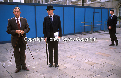 City of London  1990's<br /> A Household Cavalry Officer in his trade mark Bowler hat preparing for the rehearsal of the Guard of Honour at the Lord Mayors Show.