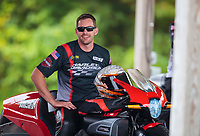 Sep 14, 2019; Mohnton, PA, USA; NHRA pro stock motorcycle rider Andrew Hines during qualifying for the Reading Nationals at Maple Grove Raceway. Mandatory Credit: Mark J. Rebilas-USA TODAY Sports