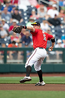 Texas Tech Red Raiders shortstop Josh Jung (16) makes a throw to first base during Game 5 of the NCAA College World Series against the Arkansas Razorbacks on June 17, 2019 at TD Ameritrade Park in Omaha, Nebraska. Texas Tech defeated Arkansas 5-4. (Andrew Woolley/Four Seam Images)