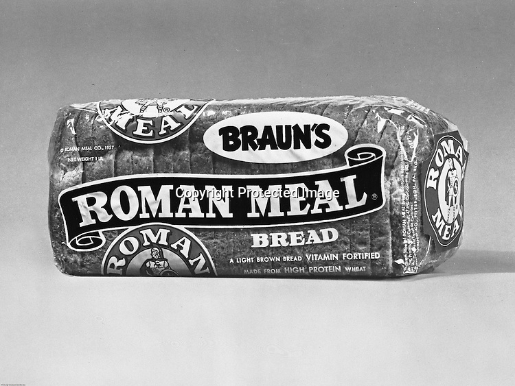 Client: Braun Bakery<br /> Ad Agency: Ketchum, MacLeod & Grove<br /> Product: Roman Meal Bread<br /> Contact: Mr. Lowe <br /> Location: Brady Stewart Studio, 725 Liberty Avenue Pittsburgh<br /> <br /> Braun's Bakery advertisement featuring Roman Meal Bread. Braun's was a very popular local bakery on the North Side of Pittsburgh. .The history of the Braun bakery in Pittsburgh stretches from 1889 until the closing of the North Side facility in May 1989, when production was moved to Philadelphia.