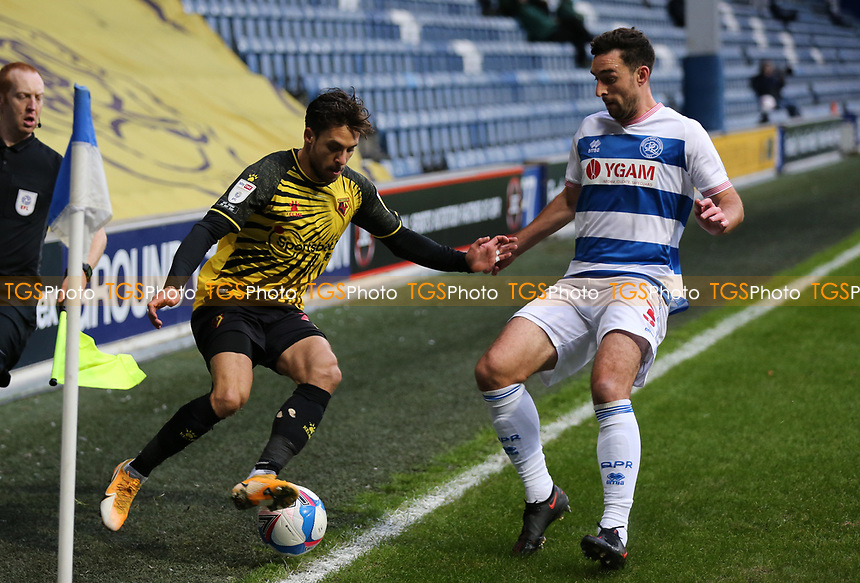 Lee Wallace of Queens Park Rangers and Kiko Femenia of Watford during Queens Park Rangers vs Watford, Sky Bet EFL Championship Football at The Kiyan Prince Foundation Stadium on 21st November 2020