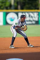 Danville Braves third baseman Jan Carlos Encarnacion (8) on defense against the Burlington Royals at Burlington Athletic Stadium on August 15, 2017 in Burlington, North Carolina.  The Royals defeated the Braves 6-2.  (Brian Westerholt/Four Seam Images)