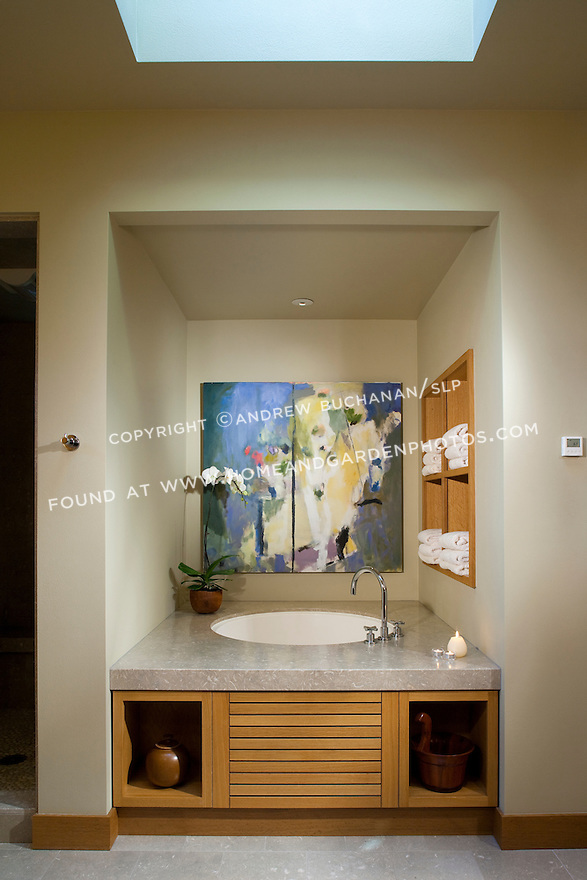 A Japanese soaking tub is at the heart of this Pacific Northwest master bathroom.