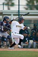 Pittsburgh Pirates Jeremias Portorreal (51) follows through on a swing during an Instructional League game against the New York Yankees on September 28, 2017 at Pirate City in Bradenton, Florida.  (Mike Janes/Four Seam Images)