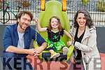Vivienne McCormick  delighted to be back playing on her throne at the playground in Milltown on Tuesday with her parents David and Victoria