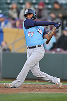 Colorado Springs Sky Sox designated hitter Christian Bethancourt (29) swings at a pitch against the Omaha Storm Chasers at Werner Park on April 5, 2018 in Omaha, Nebraska. The Sky Sox won 3-1.  (Dennis Hubbard/Four Seam Images)