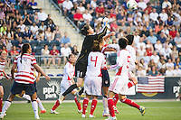 China PR (CHN) goalkeeper Zhang Yue (1) punches a ball clear. The United States (USA) women defeated China PR (CHN) 4-1 during an international friendly at PPL Park in Chester, PA, on May 27, 2012.