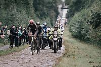 Florian Vermeersch (BEL/Lotto Soudal) through the Arenberg Forest / Trouée d'Arenberg / Bois de Wallers<br /> <br /> 118th Paris-Roubaix 2021 (1.UWT)<br /> One day race from Compiègne to Roubaix (FRA) (257.7km)<br /> <br /> ©kramon