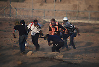 Protests continue between Palestinians and Israeli security forces over the fence between Gaza and Israel east of Khuza'a in the southern Gaza Strip September 27, 2019 <br /> <br /> PHOTO : Agence Quebec Presse  - YOUSEF MASOUD