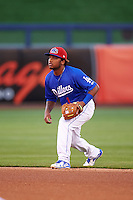 Tulsa Drillers second baseman Willie Calhoun (1) during a game against the Arkansas Travelers on April 25, 2016 at ONEOK Field in Tulsa, Oklahoma.  Tulsa defeated Arkansas 4-3.  (Mike Janes/Four Seam Images)