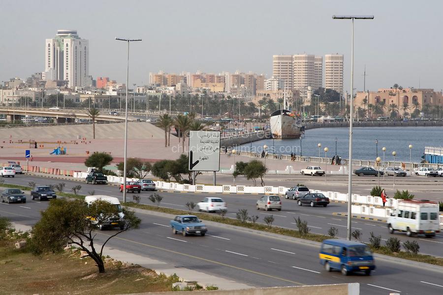 Tripoli, Libya - Corniche Road, Tripoli Harbor, Harbour, Fateh Tower on Left, Turkish Fort, Serraya al-Hamra on Right