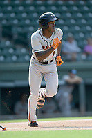 Third baseman J.C. Encarnacion (1) of the Delmarva Shorebirds runs out a batted ball in a game against the Greenville Drive on Friday, August 2, 2019, in the continuation of rain-shortened game begun August 1, at Fluor Field at the West End in Greenville, South Carolina. Delmarva won, 8-5. (Tom Priddy/Four Seam Images)